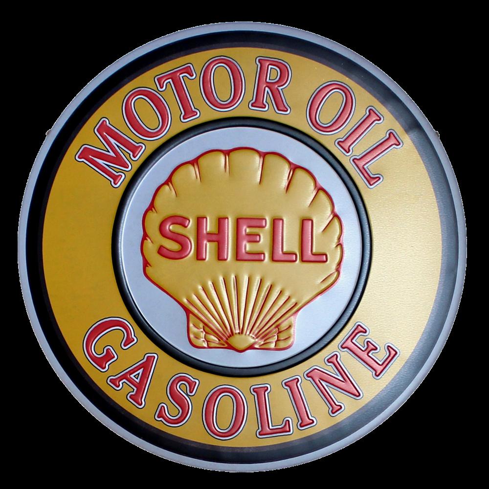 SHELL MOTOR OIL TIN SIGN Vintage Lrregular Painting Coffee Bar Wall Art Decor YXY-156 30CM