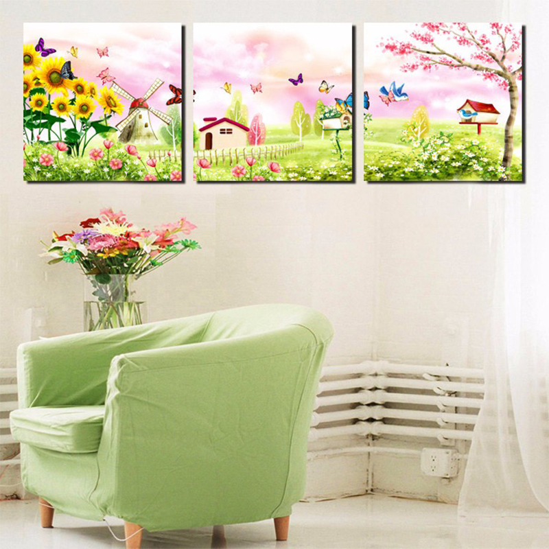 3 panel cartoon canvas painting fairy tale garden art prints butterfly sunflower wall pictures for Canvas prints childrens bedrooms
