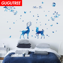 Decorate trees leaf star deer art wall sticker decoration Decals mural painting Removable Decor Wallpaper LF-1928
