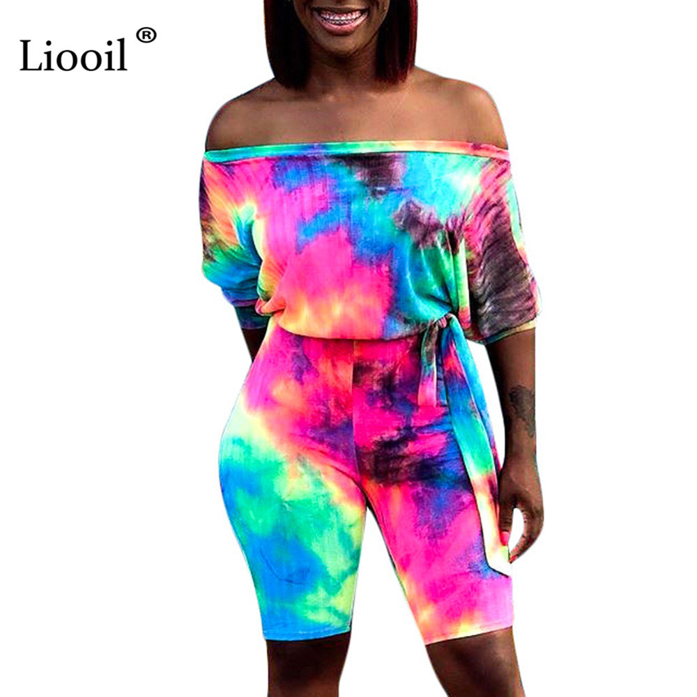 Liooil Off The Shoulder Print Playsuits Tie Dye One Piece   Jumpsuit   Women 2019 Belt Party Sexy Rompers Womens   Jumpsuit   Overalls