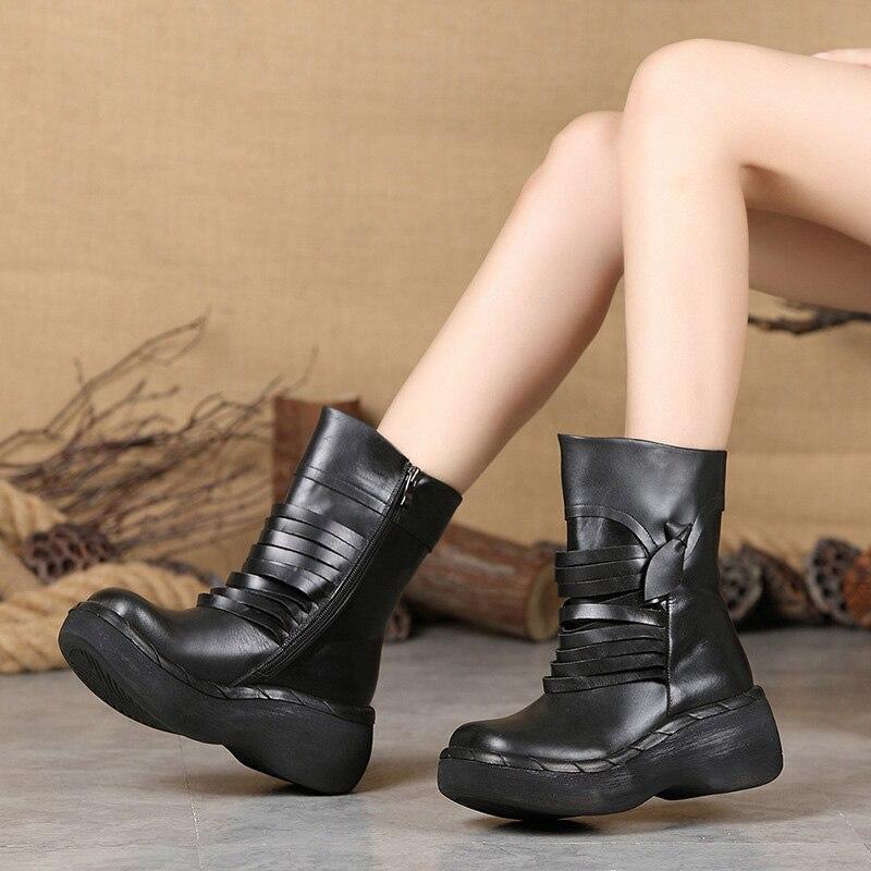 En Automne Noir Femmes Cuir Casual D'hiver Nouvelles Étanche Et Mode Épais Manuel Avec Chaussures Bottes De Courtes wxqYTwBfr