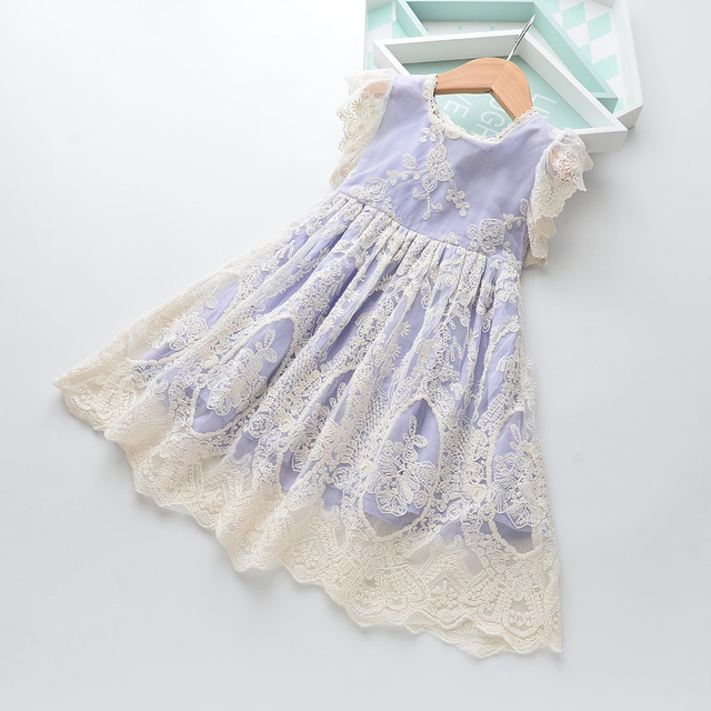 64e24d77ae Hurave Girls Christmas Flower Lace Embroidery Dress Kids Dresses for Girl  Princess Summer Party Ball Gown Children Clothing