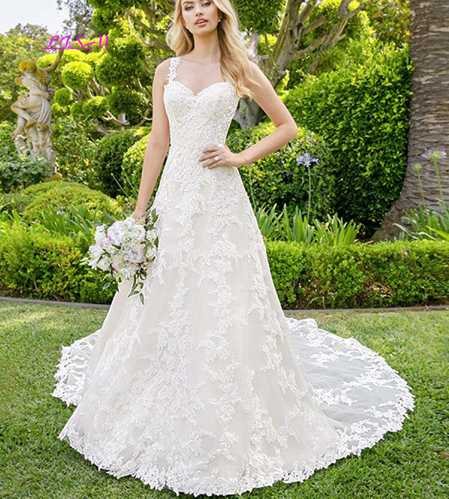 2019 Robe De Mariee Vintage A-Line Wedding Dresses Sweetheart Straps Lace Appliques Wedding Gowns Court Train Tulle Bride Dress