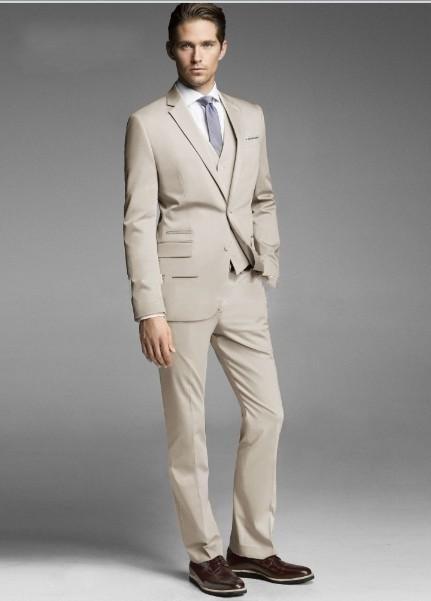 (Chaqueta + Pantalones + Chaleco) Por encargo Dos botones Beige Novio - Ropa de hombre - foto 4