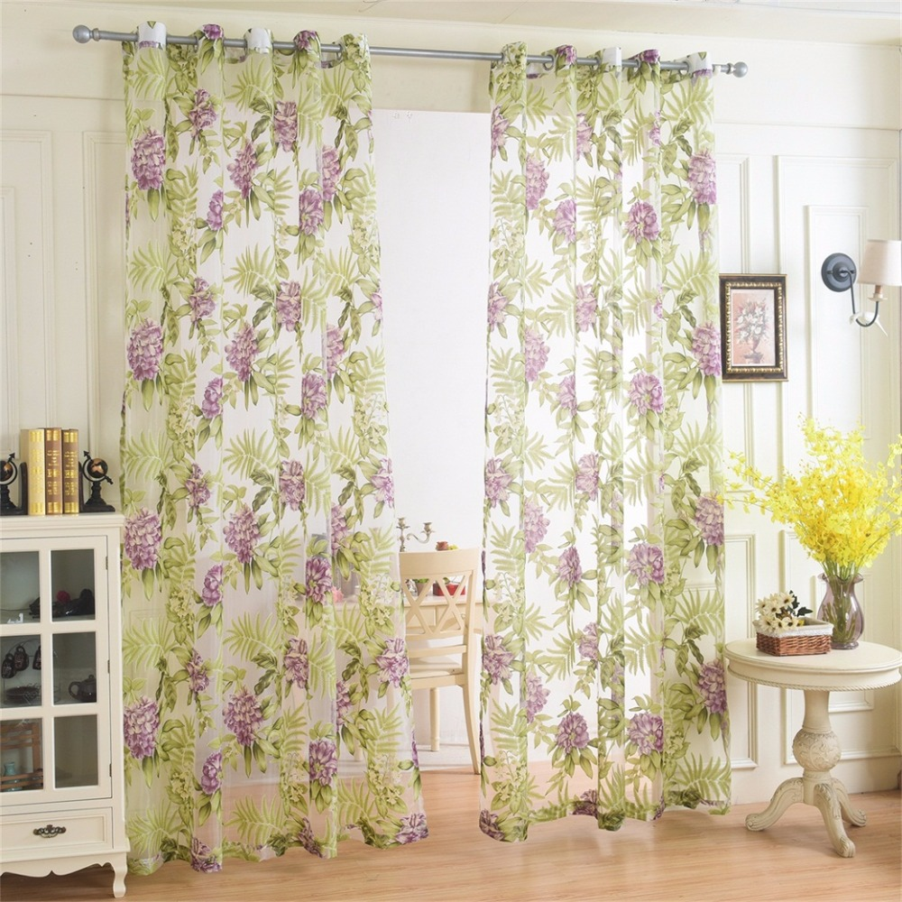 Rural Style Yarn Curtains Solid Color Pinch Pleated Sheer Curtain Rod Pocket Window Tulle Living
