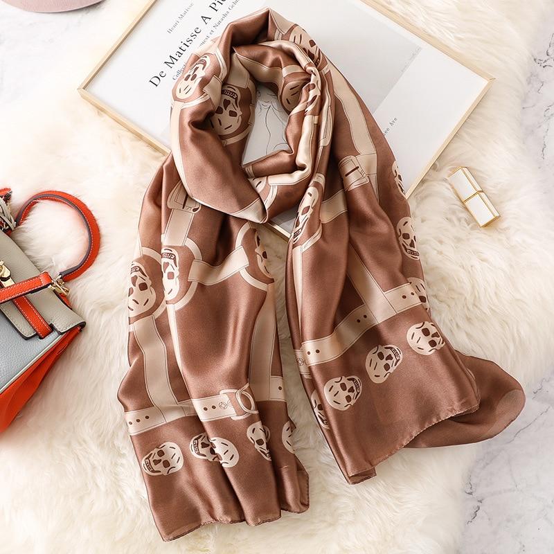 New Women Foulard Silk Scarf Beach Shawl Fashion Summer Wrap Designer Printed Scarves Plus Size Female  Bandana