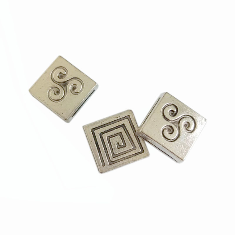 10 Antique Silver Square Swirl Slider Beads For 13*2mm Flat Leather m2025