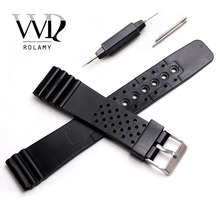 Rolamy 20mm Watch Band Strap Belt Silicone Rubber Straight End Wrist  For Rolex Omega Panerai Black Replacement Watchband silicone rubber watch band for omega watchband 22mm men women belt wrist loop bracelet resin strap black tool spring bar