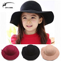 2015 Fashion Children Fedora Bonnet Top Vintage Hat Autumn and Winter Bowknot Wool Hats For Girls Casquette