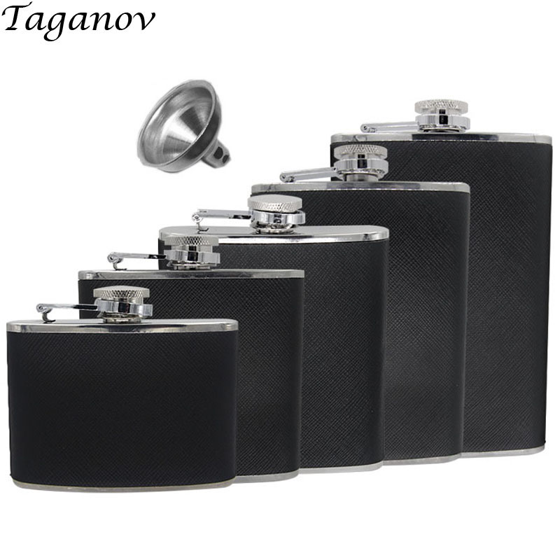 4 oz 5 6 7 8 OZ Classic Stainless Steel Hip Flask Whiskey whisky Drinkware Wraped with Black PU Leather Funnel Included