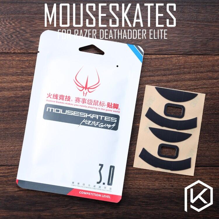 Hotline jogos 2 jogos/pacote original nível de competição mouse pés patins gildes para razer deathadder elite 0.6mm espessura teflon