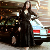 Women Formal Dress Black Dress For Autumn Winter Spring Plus Size For Sexy V Neck Lace