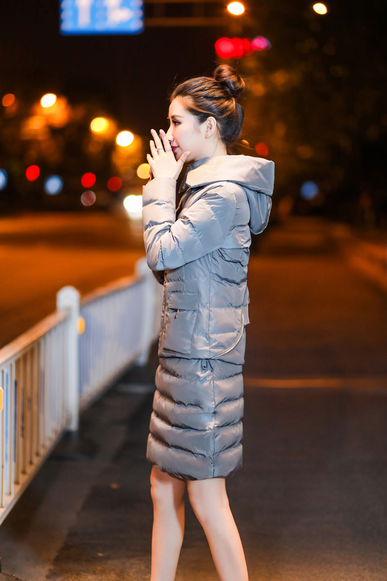 SexeMara Real Shot 2018 Winter New Down Cotton Suit Fashion Suit Female Small Fresh Warm Hooded Two-Piece Elegant Dress (25)