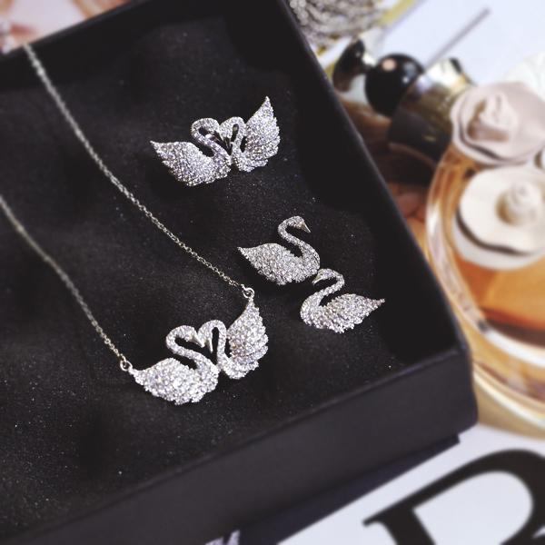 Europeanfashion clássico strass anéis de zircão brincos cisne cisne colar de jóias colar de cadeia curta