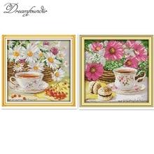 Afternoon tea cross stitch kit flower food still life 18ct 1