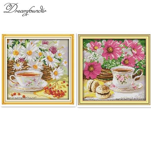 Afternoon tea cross stitch kit flower food still life 18ct 14ct 11ct printed canvas embroidery DIY handmade needlework plus Pakistan