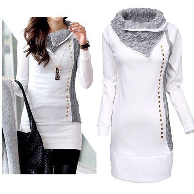 High Quality 2016 New Stylish Women Shirt Turn-Down Collar Woman Lady Rivet Embellished Long Sleeve Hoodies Women Tops