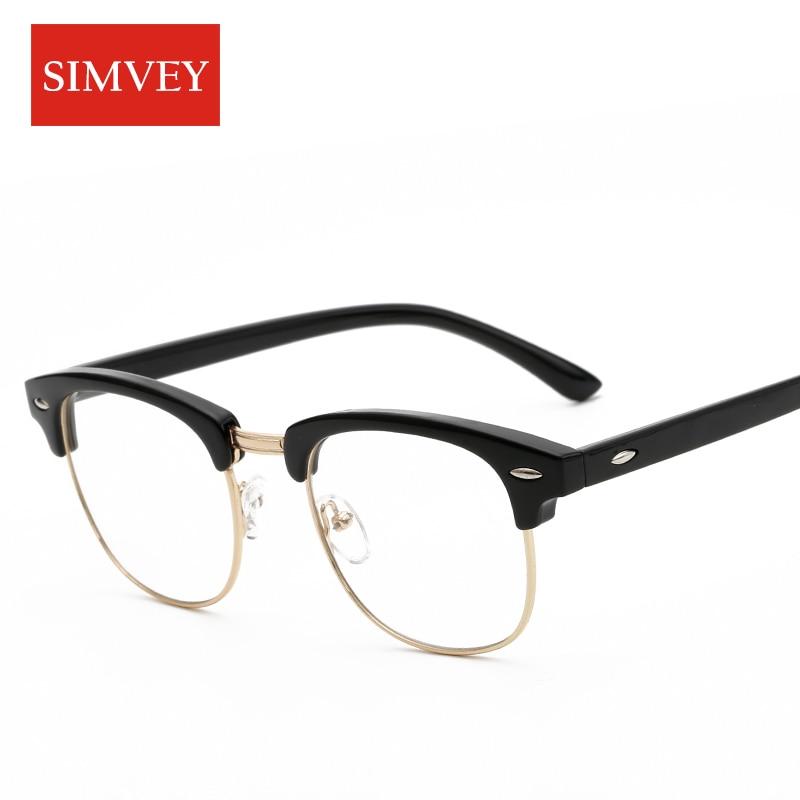 c63bf99b8e Simvey Fashion Korean Half Frame Glasses for Women Classic Brand Designer  Retro Vintage Clear Lens Glasses Men Eyeglass Frames