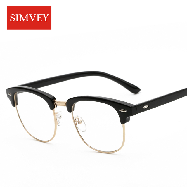9dc8f66d6f Simvey Fashion Korean Half Frame Glasses for Women Classic Brand Designer Retro  Vintage Clear Lens Glasses Men Eyeglass Frames