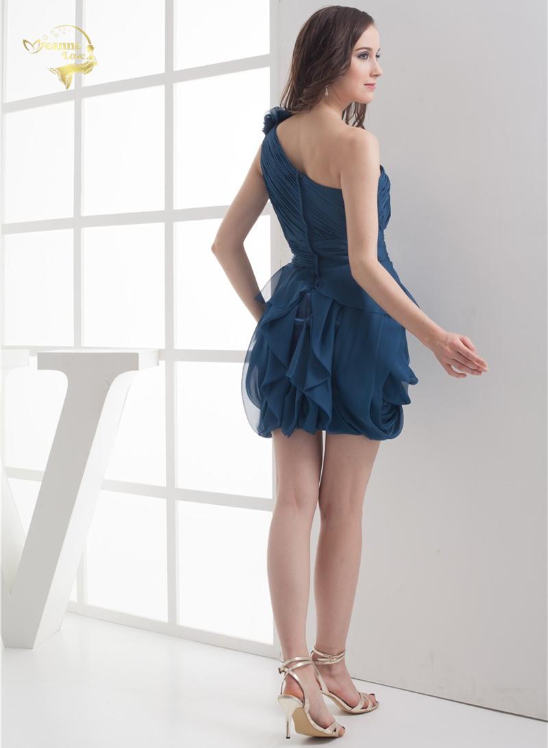 2018 NEW ARRIVAL Cheap Price Vestidos De Formatura Mini Chiffon Fold One Shoulder Flower Short Cocktail Dresses 2018 HCK1235 3