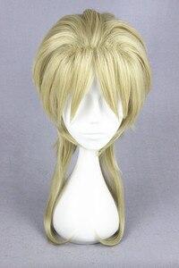 Image 2 - 45 Cm Blonde Medium Kapsel Jojo S Bizarre Adventure Dio Brando Cosplay Pruik Hittebestendige Synthetische Haar Pruiken + Pruik cap
