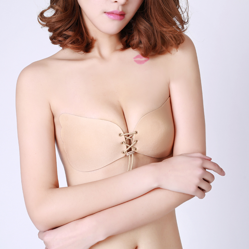 2cd93926adf29 Sexy Women Strapless Bra Invisible Push Up Bra Angel Wing Shape Self-Adhesive  Silicone Bust Front Bra Backless A B C 088