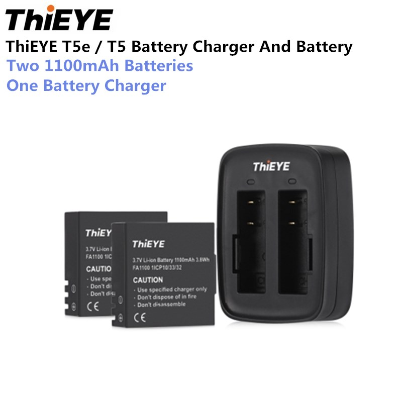 ThiEYE T5E Action Camera Dual Battery Charger With Two 1100mAh Batteries Quickly Charge For T5e/T5 Action Camera f88 action camera black