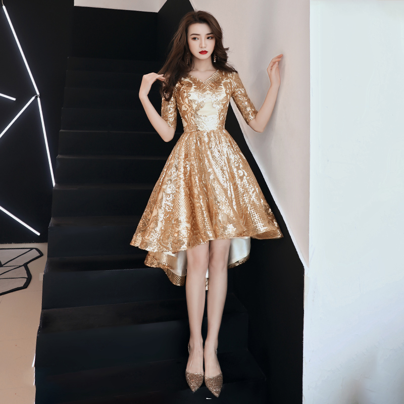 Golden Evening Dress 2019 New Style Elegant Banquet Annual Party Dress Short Front Long Back V-Neck Half Sleeve Prom Dresses