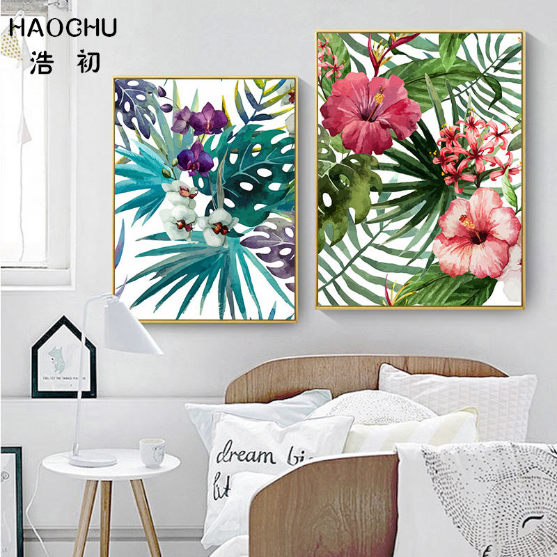 Image 3 - HAOCHU Tropical Forest Flower Leaves Watercolor Plant Flamingo Art Poster Print Picture Wall Decor Canvas Painting Home Decor-in Painting & Calligraphy from Home & Garden