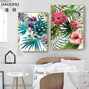 Image 3 - HAOCHU affiche artistique de flamant rose rose et feuilles de fleurs de forêt tropicale pour décor
