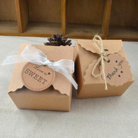 50pcs Natural Brown Kraft Paper DIY Wedding Candy Box With Ribbon Rustic Decor Vintage Wedding Decoration