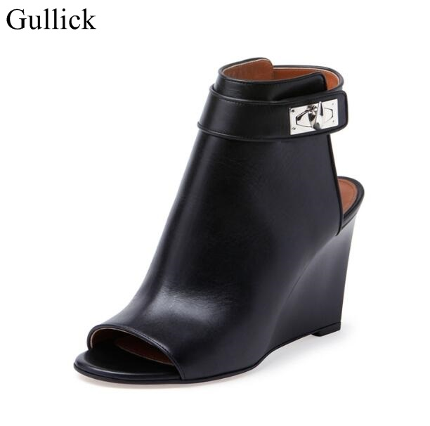 Women Shark Lock Cutout Ankle Boots Black Leather Peep Toe Cutout Heel Ankle Strap Wedge Boot High Heel Shoes Size 34-42 недорго, оригинальная цена