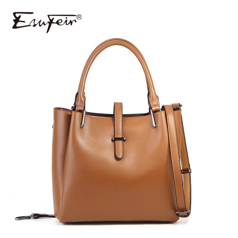 ESUFEIR New 2018 Genuine Leather Women Bags Solid Color Large Capacity Tote Bag Vintage Crossbody Bag Designer Shoulder Bag ladylike women s tote bag with solid color and daisy embossing design