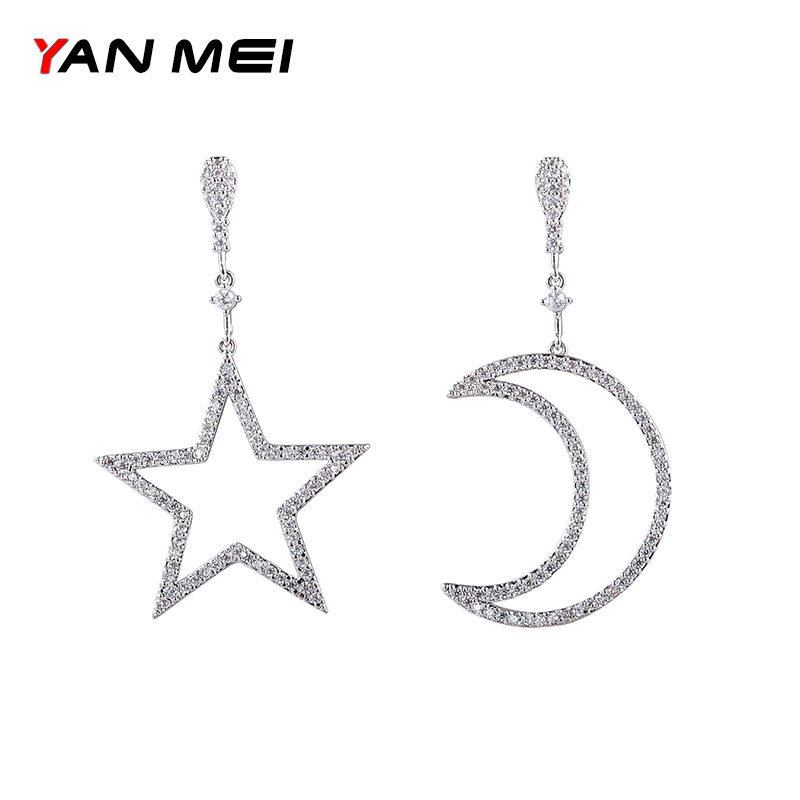 YAN MEI New Arrival Moon And Star Cubic Zirconia Earring Romantic Dangle Earrings Classic Jewelery GLE6811