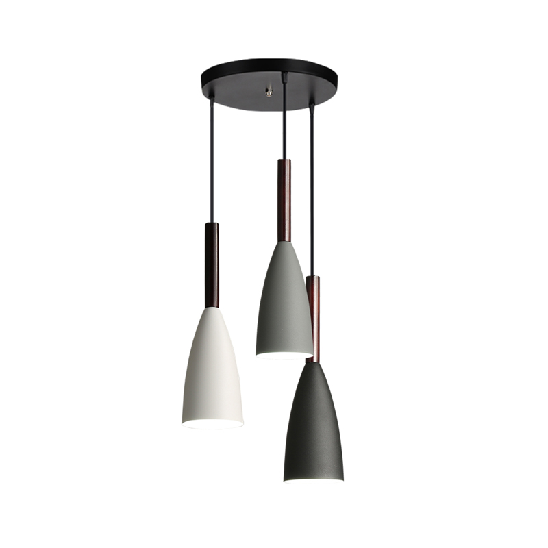 Nórdicos minimalista esquina E27 de madera de aluminio colgante luces casa restaurante decoración lámpara de iluminación y Bar de la luz del punto