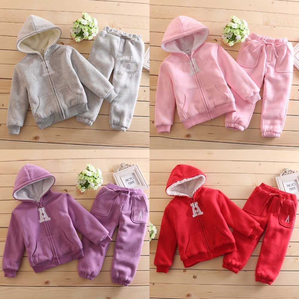 High quality baby boys girls winter clothing sets fashion kids warm hoodie jacket pants suits set children winter thicker coat