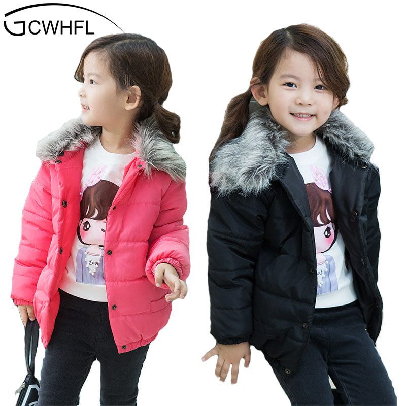 GCWHFL Baby Girls Jacket 2017 Winter Jacket For Girls Coat Kids Warm Fur Hooded Outerwear 6Y Children Clothes Infant Girls Coat children winter coats jacket baby boys warm outerwear thickening outdoors kids snow proof coat parkas cotton padded clothes