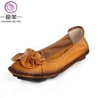 2015 Women Genuine Leather Shoes Woman Hand Sewn Leather Flats Cowhide Flexible Spring Boat Shoes Women