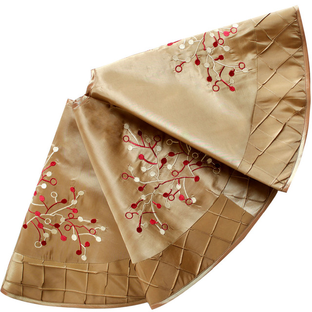 Us 21 99 Deluxe Embroidered Berry With Handcraft Pintuck Border Extra Large Gold Christmas Tree Skirt 50 90cm In Tree Skirts From Home Garden On