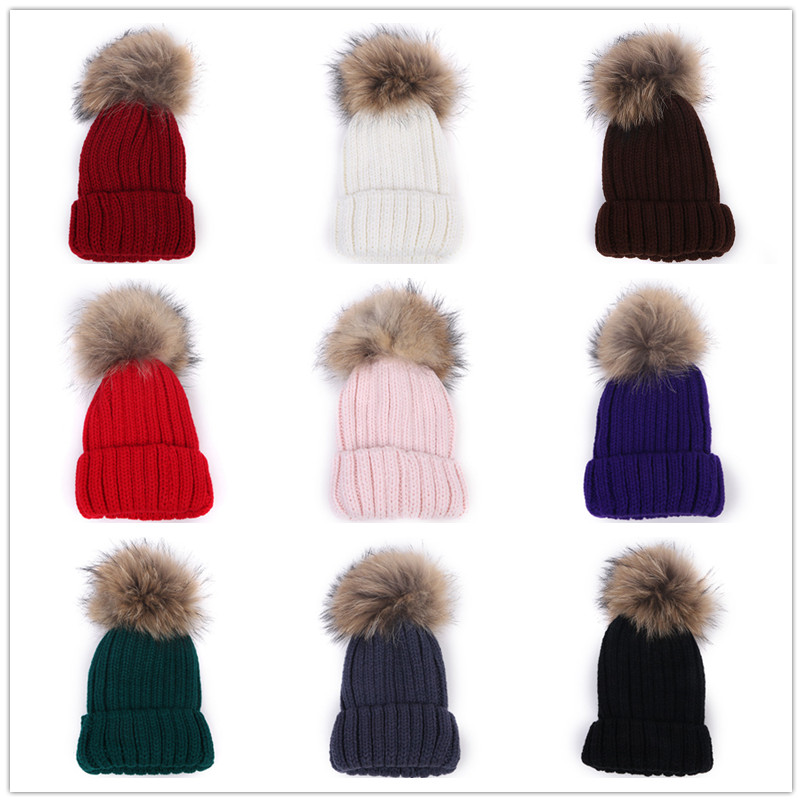 Boys Girls Raccoon HatCute Kids Children/'s BeanieWarm Winter HatsXmas