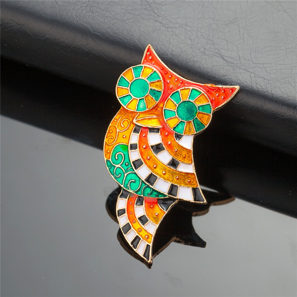 WNGMNGL 2018 New Arrival Colorful Enamel Owl Brooches Pins For Women Unique Design Cute Korean Style Brooches Fashion Jewelry in Brooches from Jewelry Accessories