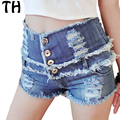 2016 Summer High Waisted Denim Shorts Women Fashion Ripped Jeans Short Taille Haute Pantalones Cortos Mujer #161230