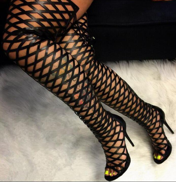 Sexy Women Over The Knee Gladiator Boots Cut Out Leather Lace Up Back Ladies Party Thigh High Boots Plus Size 42 Summer Hot
