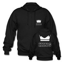 Cute Matching Couple Zip Hoodie Unisex King And Queen For Mens Womens Cotton Sweatshirts Harajuku Hoodies