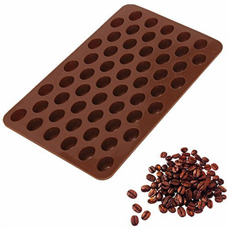 New 55 Cavity Mini Coffee Beans Chocolate Mould DIY Silicone Mould Sugar Candy Mold Bakware Baking Tray Cake Decor Cooking Tool image