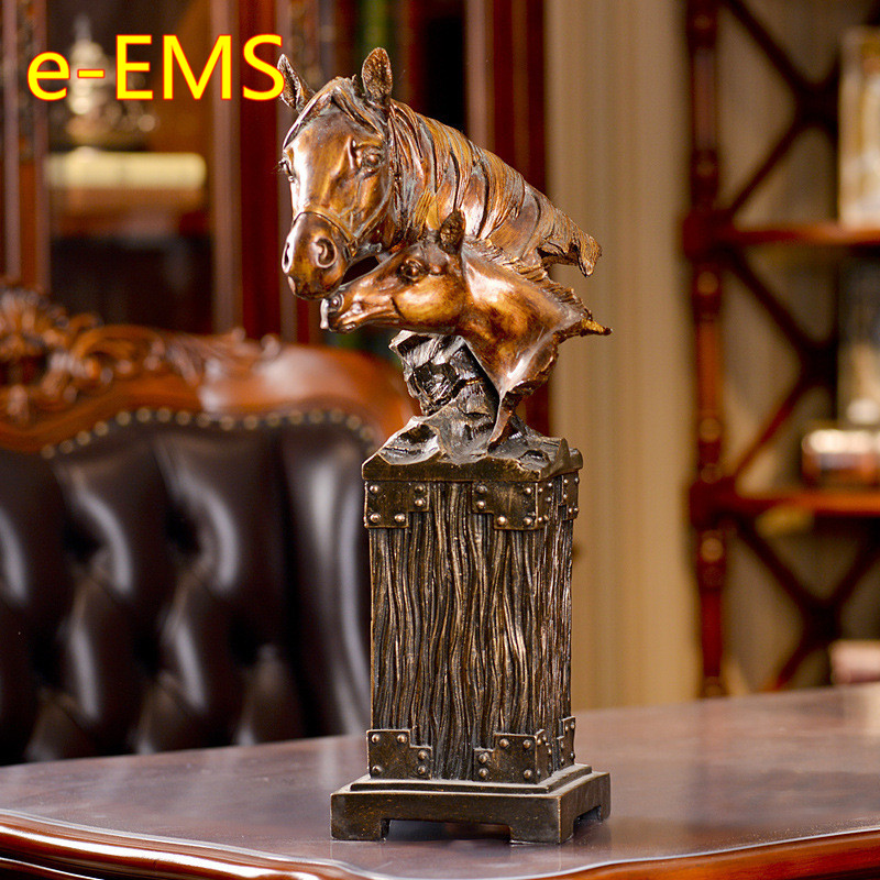 Retro Horse Bust Half-Length Photo Or Portrait Animals Statue Resin Craftwork Home Furnishing Articles L2417 animals bust retro horse head statue continental resin craftwork home decorations art material l2360