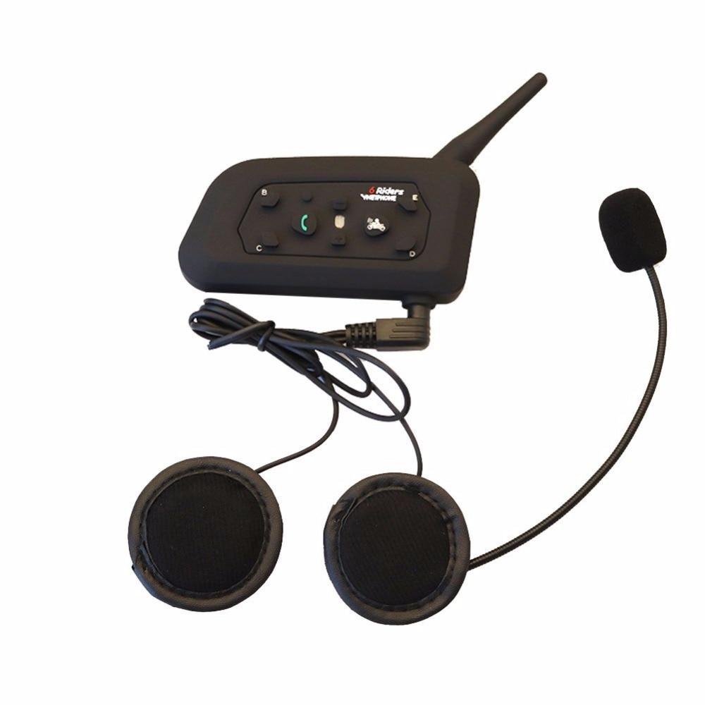 Vnetphone 1pcs V6 1200M Motorcycle Bluetooth 3.0 Helmet Intercom Headset Moto Wireless BT Interphone for 6 Riders Helmet Headset цены