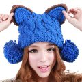 Cat Ear Pom Pom Cabled Knit Beanie Crochet Rib Hat Brim Cap 100 HANDMADE Knitted Hat