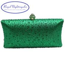 Frauen Dunkelgrün Abend-handtaschen mit Sparkle Kristall Diamanten für Damen Hochzeit Prom Abendgesellschaft Kristall Box Clutch