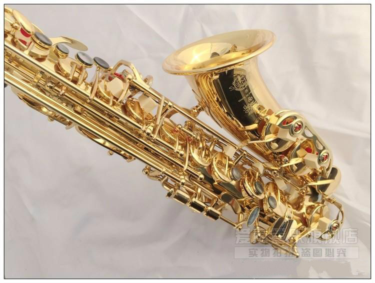 купить New Arrival 803 Brass Gold Lacquer Saxophone Alto E Flat Musical Instruments Saxophone Professional Eb Tune Sax With Case по цене 18665.31 рублей